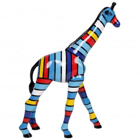 Statue en résine girafe multicolore - Lorenz - hauteur 63 cm
