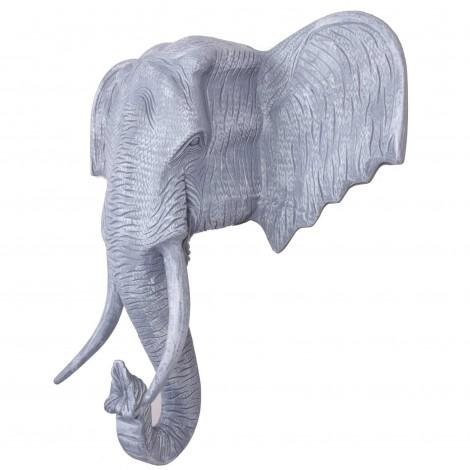 Statue en résine trophée tête d'éléphant couleur béton - 105 cm