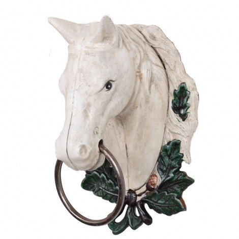 Statue tête de cheval blanche en fonte - 29 cm