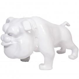 Statue chien bouledogue Anglais blanc debout collier a pointes - 110 cm