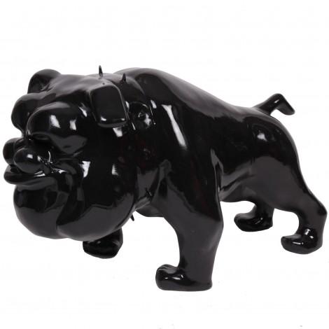 Statue chien bouledogue Anglais noir debout collier a pointes - 110 cm