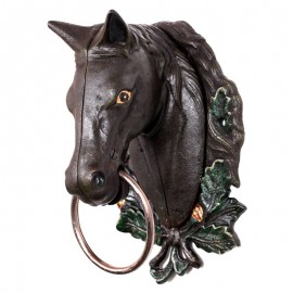 Statue tête de cheval marron en fonte  - 29 cm