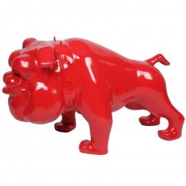 Statue chien bouledogue Anglais rouge debout collier a pointes - 110 cm