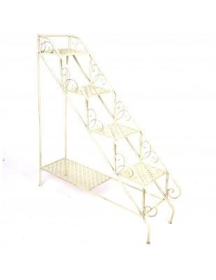 Escalier blanc Présentoir étagère sellette porte plante en fer - 110 cm