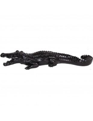 Statue en résine crocodile noir gueule ouverte - 70 cm