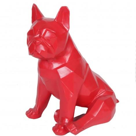 Statue chien bouledogue Français assis origami rouge assis - 35 cm