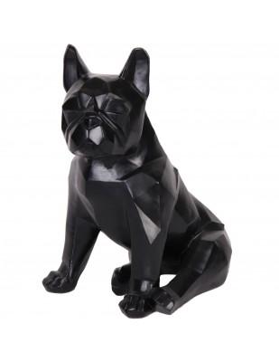 Statue chien bouledogue Français assis origami noir assis - 35 cm