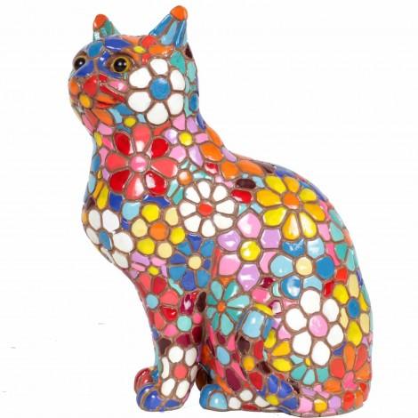 Statue en résine chat assis en mosaïque de fleurs multicolore - 18 cm