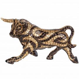 Statue en résine taureau en mosaïque doré et noir - 18 cm