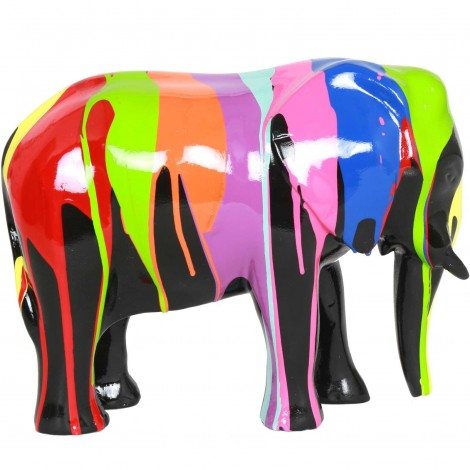 Statue en résine éléphant debout multicolore - Marc - 25 cm