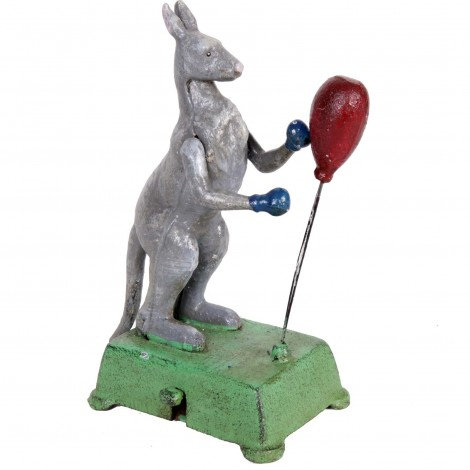 Automate manuel en fonte statue kangourou boxeur - 20 cm
