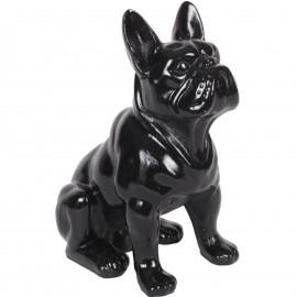 Statue en résine chien bouledogue Français noir assis Marc - 31 cm