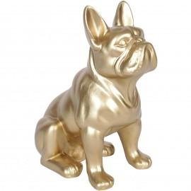 Statue en résine chien bouledogue Français doré assis Octave - 31 cm