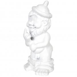 Statue en résine NAIN de jardin doigt d'honneur blanc- Sabin - 31 cm