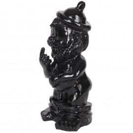 Statue en résine NAIN de jardin doigt d'honneur noir - Serge - 31 cm
