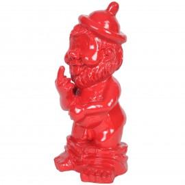 Statue en résine NAIN de jardin doigt d'honneur rouge - Adam - 31 cm