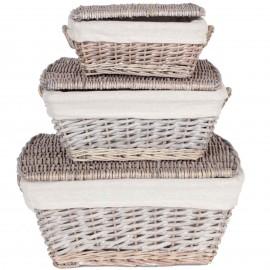 Set de trois paniers tressés avec tissus et couvercle - 46 cm