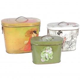 Set de trois boites en fer décor japonisant - 28 cm