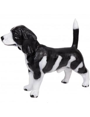 Statue en résine chien de chasse beagle robe noire - 75 cm