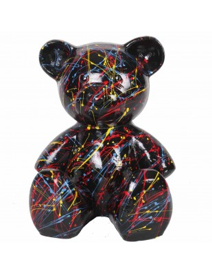 Statue ours multicolore astre fond noir Hector - 35 cm