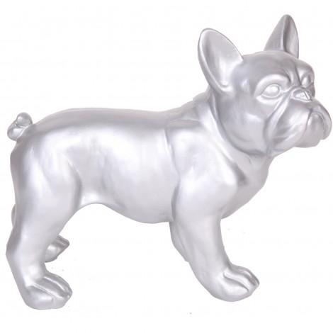 Statue chien bouledogue Français argent en résine - Hardy - 27 cm