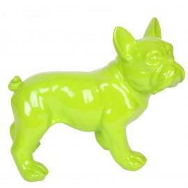 Statue chien bouledogue Français vert en résine - Hadrien - 27 cm