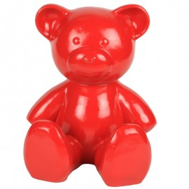 Statue Ours rouge en résine - 35 cm