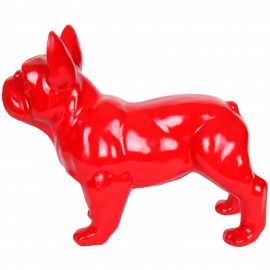 Statue chien bouledogue Français rouge en résine - Rosis - 34 cm