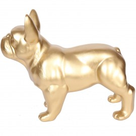 Statue chien bouledogue Français doré en résine - Carl- 34 cm