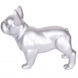 Statue chien bouledogue Français argent en résine - Cabus- 34 cm