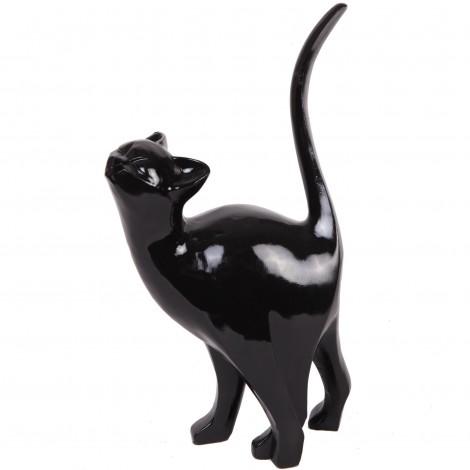 Statue en résine CHAT origami noir Marcel - 46 cm