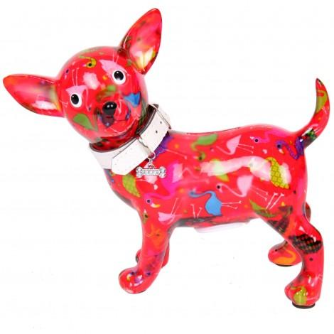 Tirelire en céramique chien chihuahua avec collier - Marcel - 21 cm