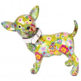 Tirelire en céramique chien chihuahua avec collier - Martin - 21 cm
