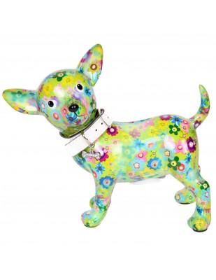 Tirelire en céramique chien chihuahua avec collier - Manon - 21 cm