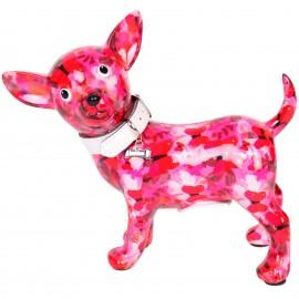 Tirelire en céramique chien chihuahua avec collier - Mania - 21 cm