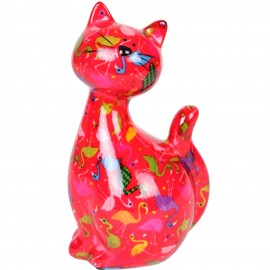 Tirelire en céramique multicolore chat - Martial - 22 cm