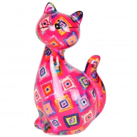 Tirelire en céramique multicolore chat - Marc - 22 cm