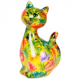 Tirelire en céramique chat décor feuilles - Manuel - 22 cm