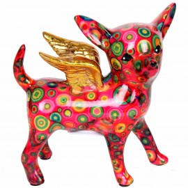 Tirelire en céramique chihuahua aillé décor multicolore - Morin - 19 cm
