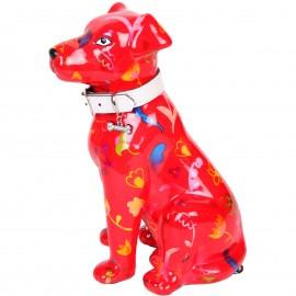 Tirelire en céramique chien assis décor fleurs et cœurs - Geronimo - 21 cm