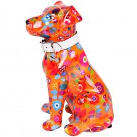 Tirelire en céramique chien assis décor fleurs - Jonas - 21 cm