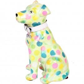 Tirelire en céramique chien assis décor multicolore - John  - 21 cm
