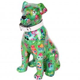 Tirelire en céramique chien assis décor vert - Jasmin  - 21 cm
