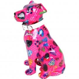 Tirelire en céramique chien assis décor cœur - Jean  - 21 cm