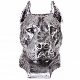 Statue tête de chien argent en résine pitbull staff américain oreilles coupées - 36 cm