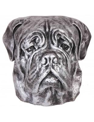 Statue tête de chien argent bullmastiff en résine - 34 cm