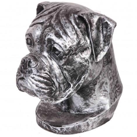 Statue argent tête de chien boxer en résine - 35 cm