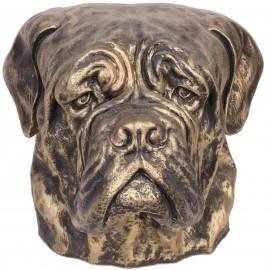 Statue tête de chien dorée bullmastiff en résine - 34 cm
