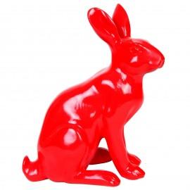 Statue en résine lapin lièvre rouge assis Jordan - 37 cm