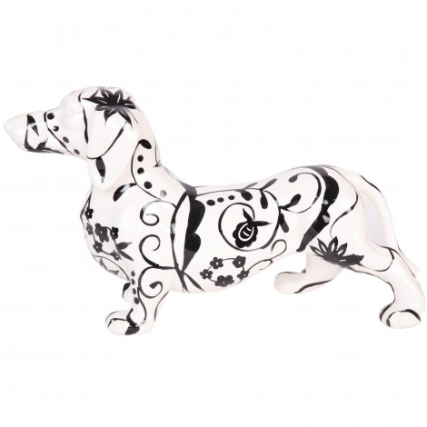 Statue teckel noir et blanc en céramique modèle fleurs et feuilles - 40 cm